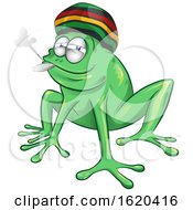 Cartoon Rasta Jamaican Frog Smoking A Joint