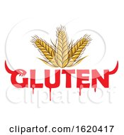 Poster, Art Print Of Wheat Stalks With Devil Gluten Text