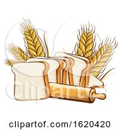 Rolling Pin With Wheat And Sliced Bread