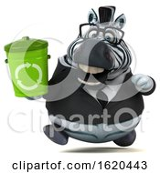 3d Business Zebra On A White Background