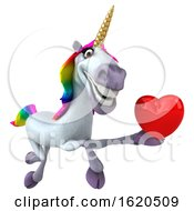 Poster, Art Print Of 3d Unicorn On A White Background