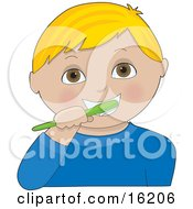 Little Blond Haired Brown Eyed Boy Wearing A Blue Shirt Brushing His Teeth With A Green Toothbrush