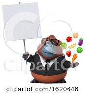 3d Business Orangutan Monkey On A White Background