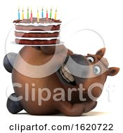 3d Chubby Brown Horse Holding A Birthday Cake On A White Background