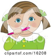 Little Brown Haired Blue Eyed Girl With Her Hair In Pig Tails Tied Back With Green Bows Wearing A Green Dress And Brushing Her Teeth With A Pink Toothbrush