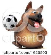 3d German Shepherd Dog On A White Background