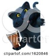January 22nd, 2019: 3d Black Kitty Cat On A White Background by Julos