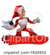 Poster, Art Print Of 3d White Male Super Hero Christmas Santa With A Hover Skateboard On A White Background