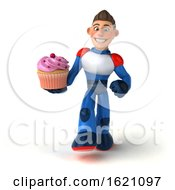 January 22nd, 2019: 3d White Male Super Hero In A White Blue And Red Suit On A White Background by Julos