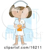 Friendly Female Nurse Wearing A White Uniform And Holding A Clipboard While Standing In Front Of A Patients Bed In A Hospital Room Clipart Illustration Image