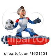 January 18th, 2019: 3d White Male Super Hero In A White Blue And Red Suit On A Hover Skateboard On A White Background by Julos