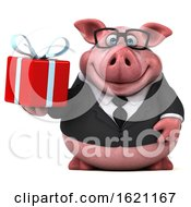January 18th, 2019: 3d Chubby Business Pig On A White Background by Julos