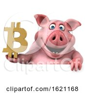 January 18th, 2019: 3d Chubby Pig Holding A Bitcoin Symbol On A White Background by Julos