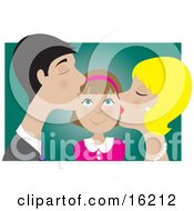 Clipart Illustration Image Of A Happy Girl Smiling As Her Blond Mother And Dark Haired Father Kiss Her On The Cheek by Maria Bell