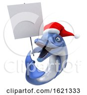 3d Christmas Dolphin On A White Background by Julos