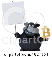 3d Black Bull On A White Background