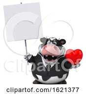 Poster, Art Print Of 3d Business Holstein Cow On A White Background