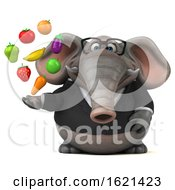 3d Business Elephant On A White Background