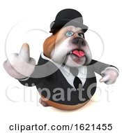 3d Gentleman Or Business Bulldog On A White Background