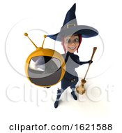 3d Sexy Green Witch Holding A TV On A White Background