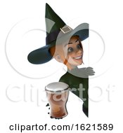 3d Sexy Green Witch Holding A Beer On A White Background