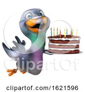 January 22nd, 2019: 3d Pigeon Holding A Birthday Cake On A White Background by Julos