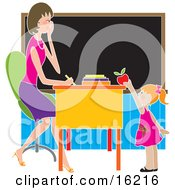 Sweet Or Brown Nosing Red Haired School Girl Standing In Front Of Her Female Teachers Desk In A Classroom Putting A Red Apple On The Desk Clipart Illustration Image
