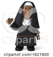 3d Nun Waving And Facing Forward