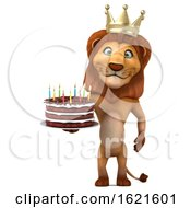 3d King Lion Holding A Birthday Cake On A White Background