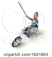 January 22nd, 2019: 3d Caucasian Male Armored Knight Riding A Chopper Motorcycle On A White Background by Julos