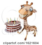 January 22nd, 2019: 3d Giraffe Holding A Birthday Cake On A White Background by Julos