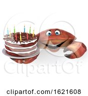 January 22nd, 2019: 3d Crab Holding A Birthday Cake On A White Background by Julos
