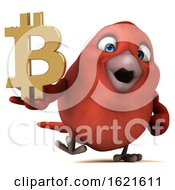 3d Red Bird Holding A Bitcoin Symbol On A White Background
