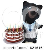 Poster, Art Print Of 3d Black Doctor Bear Holding A Birthday Cake On A White Background