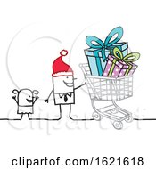 Stick Man Wearing A Santa Hat And Christmas Shopping With A Girl