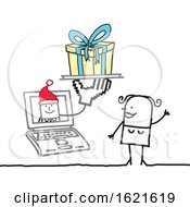 Poster, Art Print Of Stick Woman Christmas Shopping On A Laptop