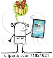 Poster, Art Print Of Stick Woman Hristmas Shopping On A Smart Phone