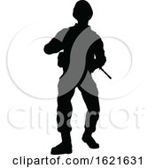 Poster, Art Print Of Black Silhouetted Male Armed Soldier
