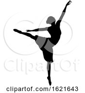 Black Silhouetted Ballerina Dancing by AtStockIllustration