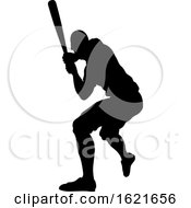 Black Silhouetted Baseball Player Batting by AtStockIllustration