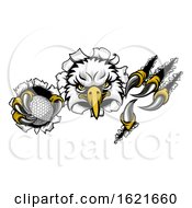 Poster, Art Print Of Eagle Golf Cartoon Mascot Ripping Background