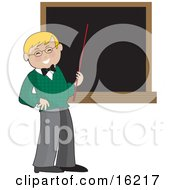 Happy Blond Male School Teacher In A Green Sweater Holding A Red Pointer Stick Up To A Blank Blackboard In A Classroom