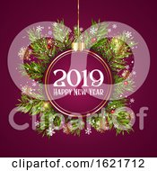 Happy New Year Background With Hanging Bauble On Fir Tree Branches