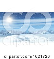 3D Snowy Landscape With Trees