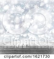 Poster, Art Print Of 3d White Wooden Table Looking Out To A Christmas Background