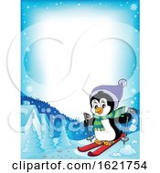 Christmas Penguin Skiing Border