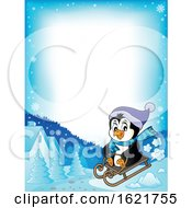 Christmas Penguin Sledding Border