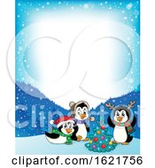 Group Of Christmas Penguins Border