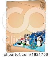 Poster, Art Print Of Group Of Christmas Penguins Scroll Border