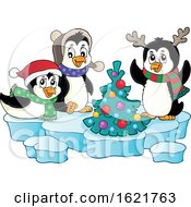 Group Of Christmas Penguins Around A Tree On Ice